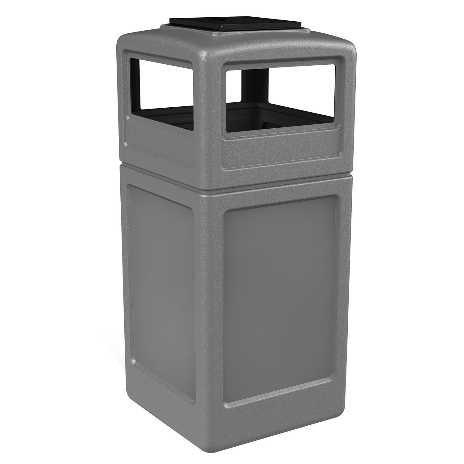 Commercial Industrial Square Waste Container with Ashtray Lid, Polyethylene, 42-gal, Gray Garbage Can, Trash, Litter