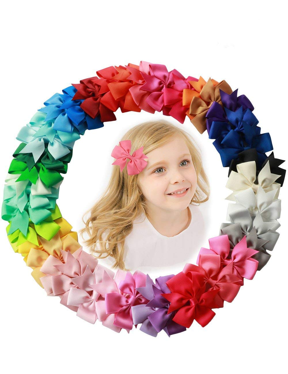 Golden Rule Hair Bows For Baby Girls Kids Corlorful Alligator Clip Cute Barrettes (40PCS)