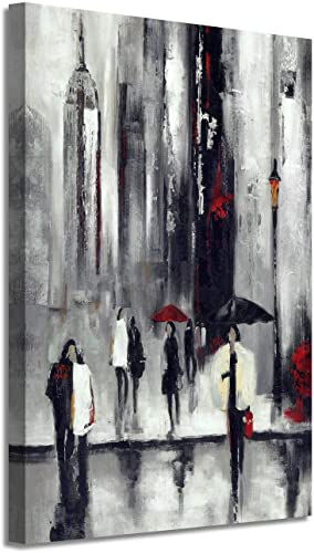Abstract NYC Picture Wall Art New York Cityscape Artwork Hand Painted Painting on Canvas for Living Room 36 x 24 x 1 Panel