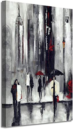 Abstract Nyc Picture Wall Art New York Cityscape Artwork Hand Painted Painting On Canvas For Living Room 36 X 24 X 1 Panel Posters Prints