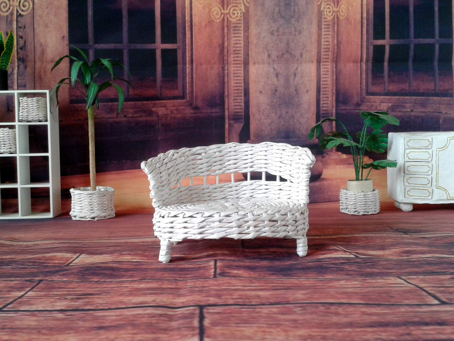 Miniature handmade white wicker sofa for 1//8 scale or 6-inch dolls and dollhouses Lati Yellow couch