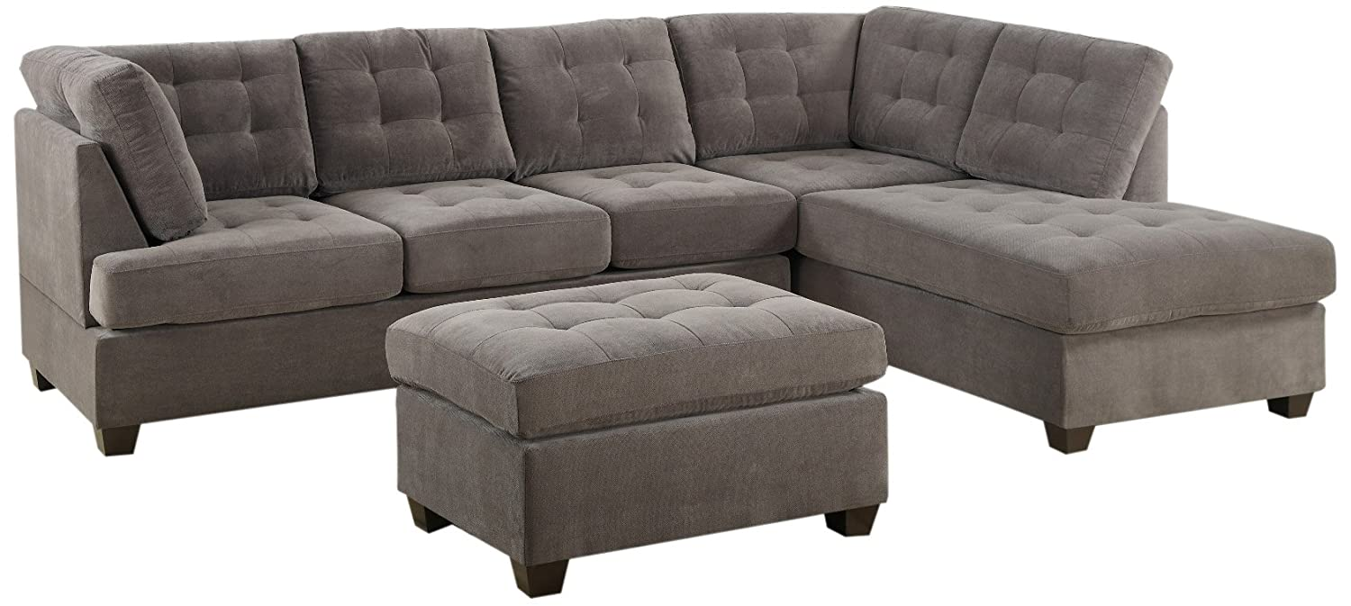 Amazon.com: Bobkona Michelson 3 Piece Reversible Sectional With Ottoman Sofa  Set, Charcoal: Kitchen U0026 Dining