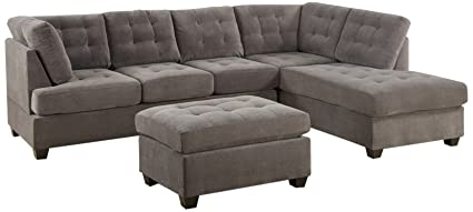 Bobkona Michelson 3 Piece Reversible Sectional With Ottoman Sofa Set,  Charcoal