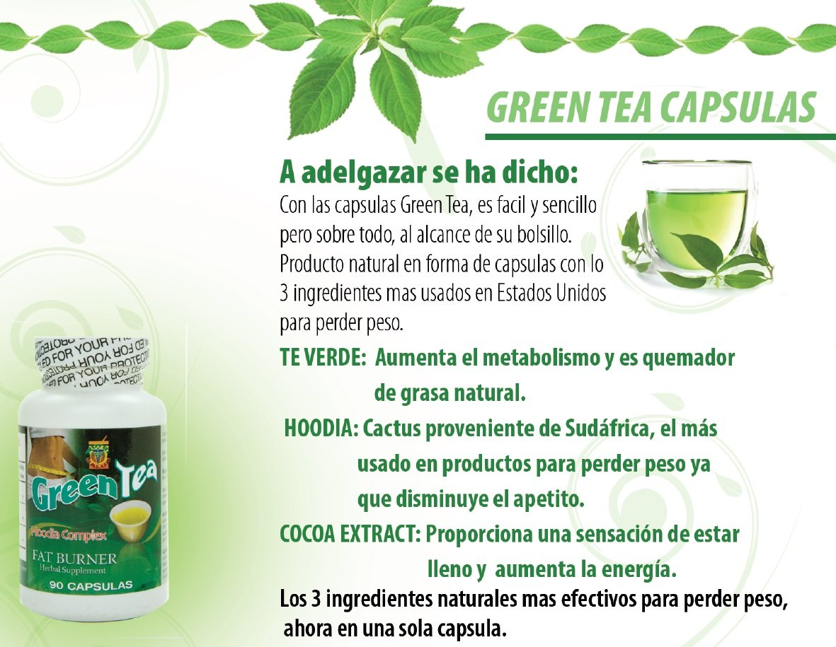 Amazon.com: Green Tea fat burner quemador de grasa.Te verde en capsulas natural y seguro. Remedio natural para bajar de peso.: Health & Personal Care
