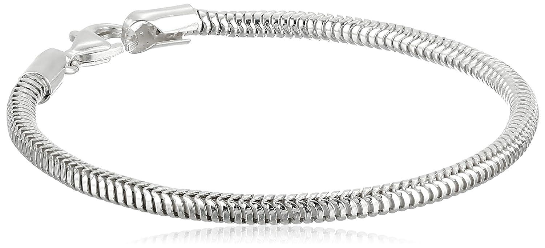 Amberta 925 Sterling Silver 1.9 mm Snake Chain Bracelet Size 7