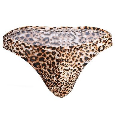 17e74f6634 TiaoBug Men's Fashion Leopard Print Bulge Pouch Briefs Bikini Underwear  Underpants Leopard Medium (Waist: