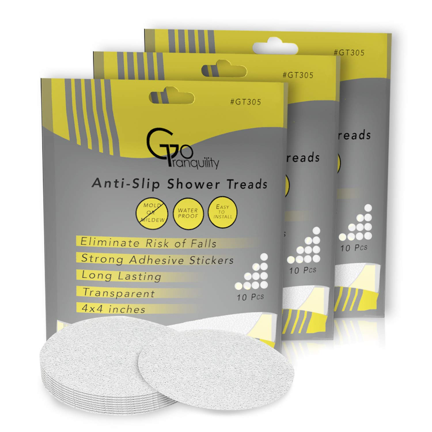 Non Slip Safety Shower Grip Treads To Prevent Slippery Surfaces In The Bathtub 10 Clear PEVA Discs Anti-Slip Stickers GoTranquility