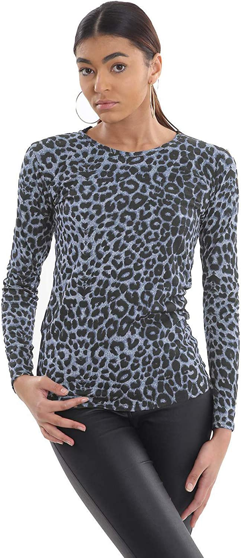 Femme Imprimé Zèbre Manches Longues Encolure Dégagée T Shirt