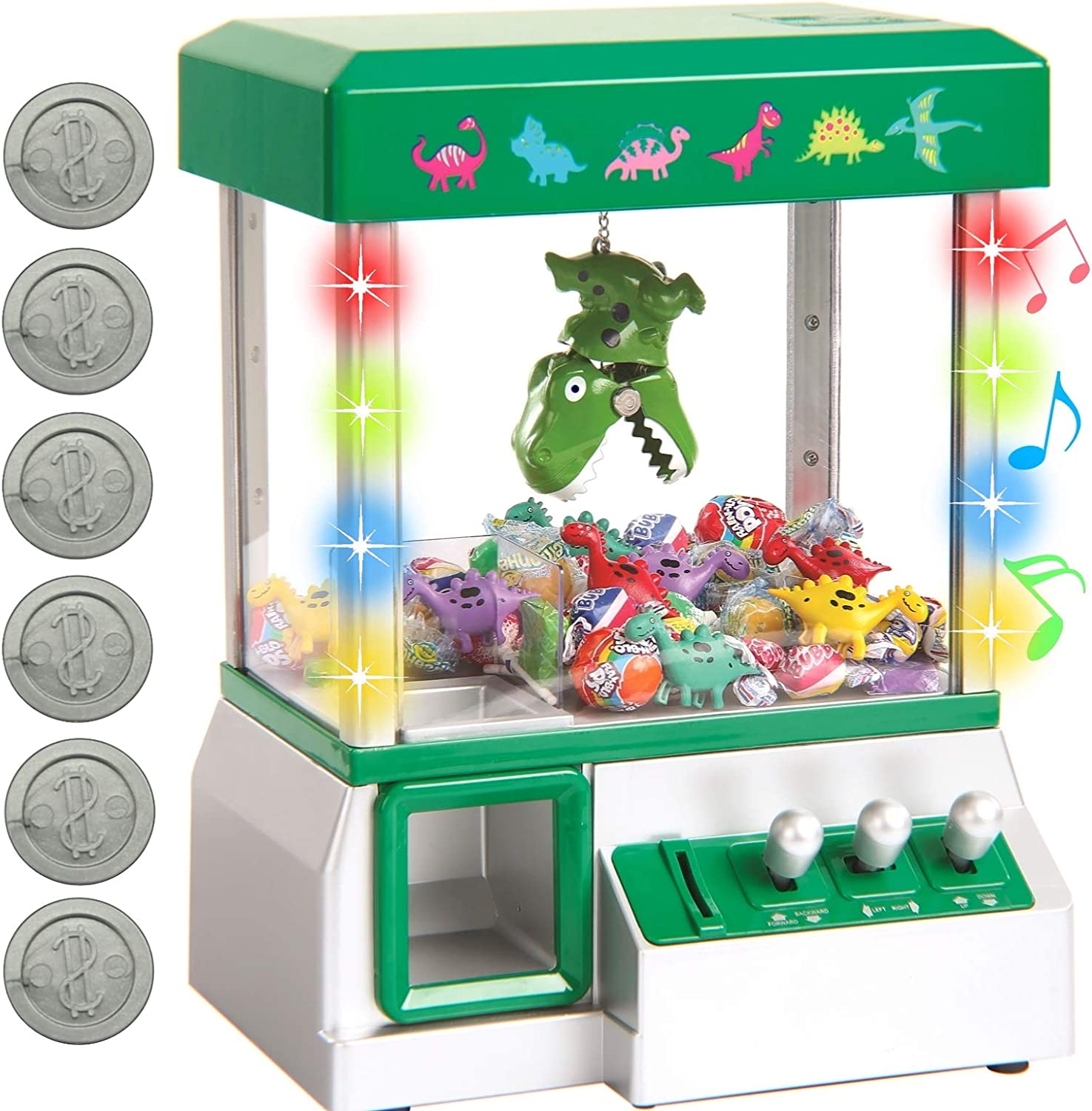 Bundaloo Claw Machine Arcade Game Candy Grabber & Prize Dispenser Vending Toy for Kids with Lights Sound & Mini Dinosaurs (Green Dinosaur)