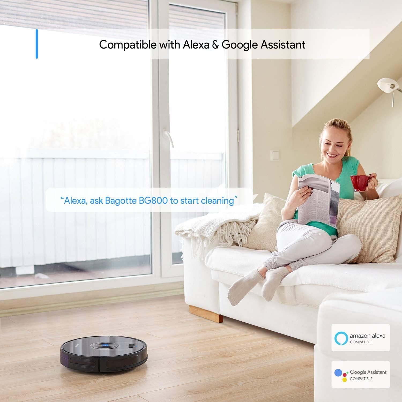 Bagotte BG800 Robot aspirador, Wi-Fi conectado, mapa, aspiradora robótica de succión de 2200Pa, Alexa y control de aplicaciones, navegación inteligente, superdelgada, autocarga, para pelo de mascotas, alfombras, suelos duros: Amazon.es: Hogar