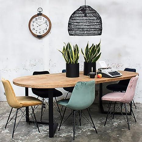 Industrial Feby 240 X 120 Cm Oval Dining Table Solid Wood Dinner Table Metal Black Amazon De Kuche Haushalt