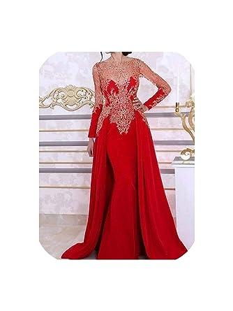 Women Gala Party Long Dress Plus Size Arabic Muslim Red Long ...