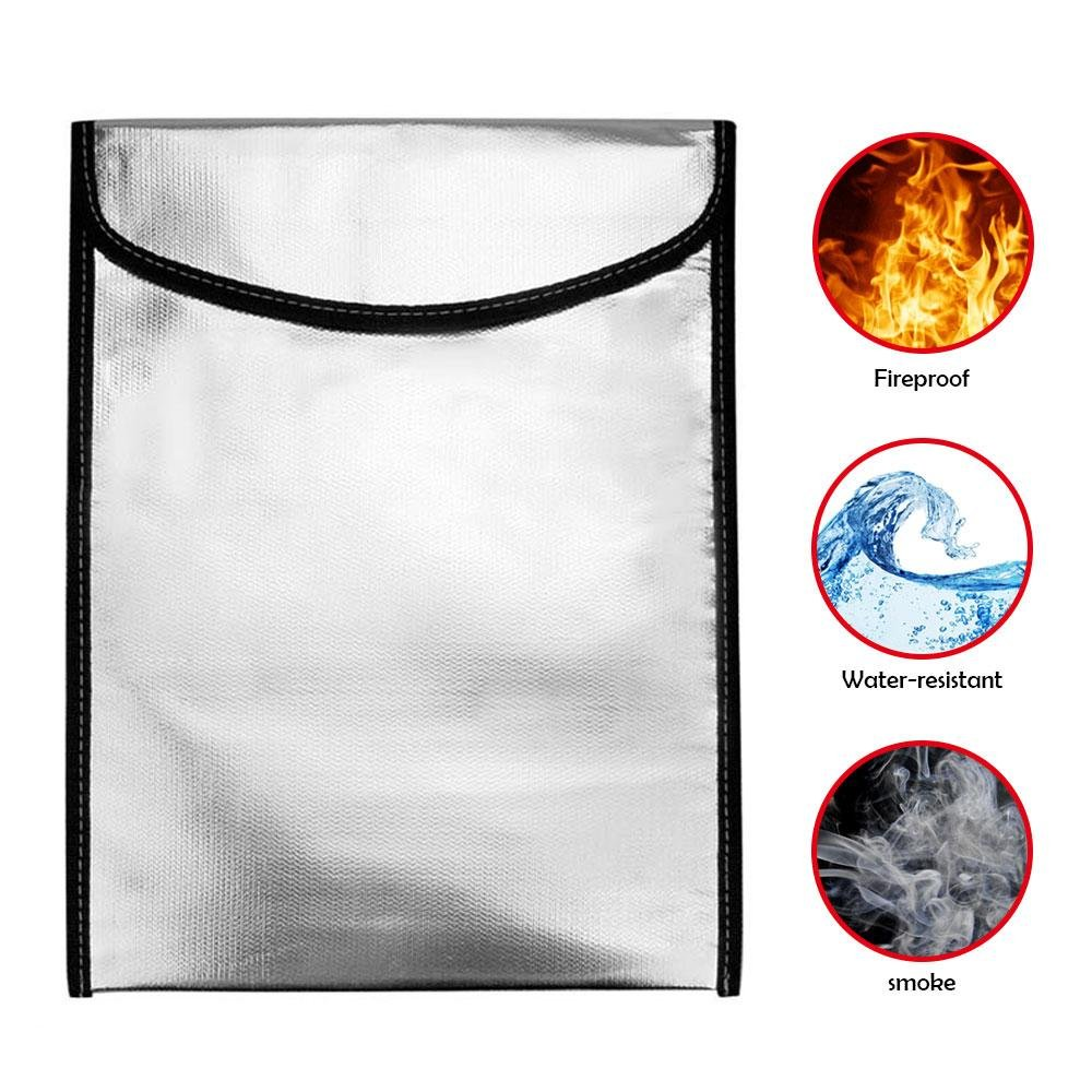 Fireproof Money Bag, niceEshop(TM) Waterproof Document Bag for Valuables Explosion-proof Safe Bag with Velcro Closure Protection Fire Resistant Box for Jewelry/Document/Money(10x13x0.8 inch)