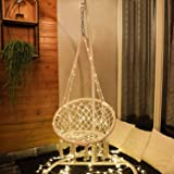 X-cosrack Hammock Swing Chair with LED for 2-16 Years Old Kid,Handmade Knitted Macrame Hanging Swing Chair for Indoor…