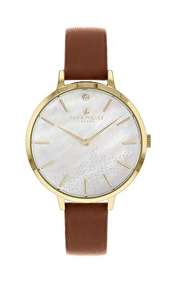 Sara Miller The Diamond Collection SA2024 - Reloj con Correa de Piel chapada en Oro: Amazon.es: Relojes