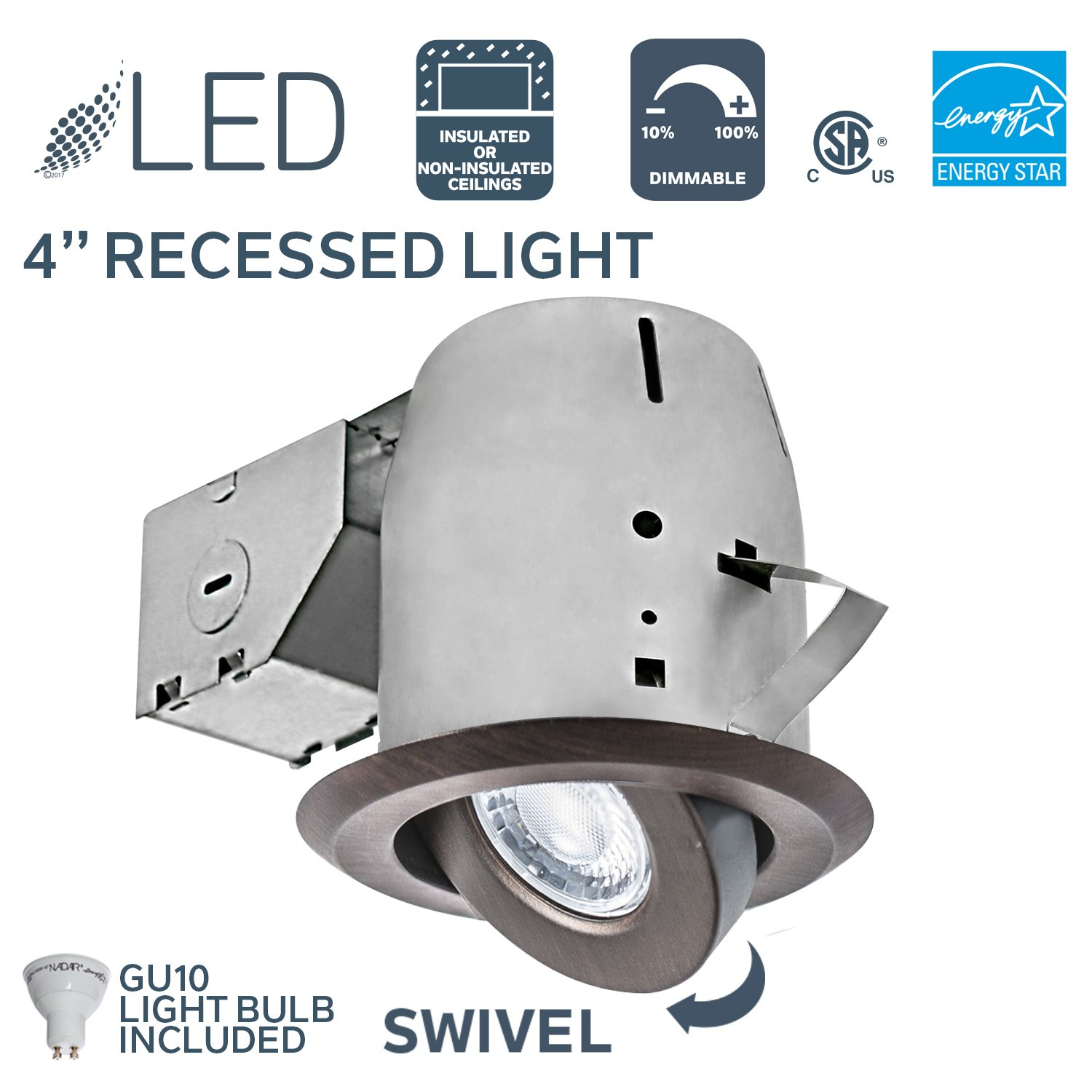 Nadair GU378L-SWORB 4in LED Retrofit Downlight Swivel Spotlight Dimmable Downlight - IC Rated - 3000K Warm White GU10 550 Lumens Bulb (50 Watts Equivalent) Included, Bronze Color