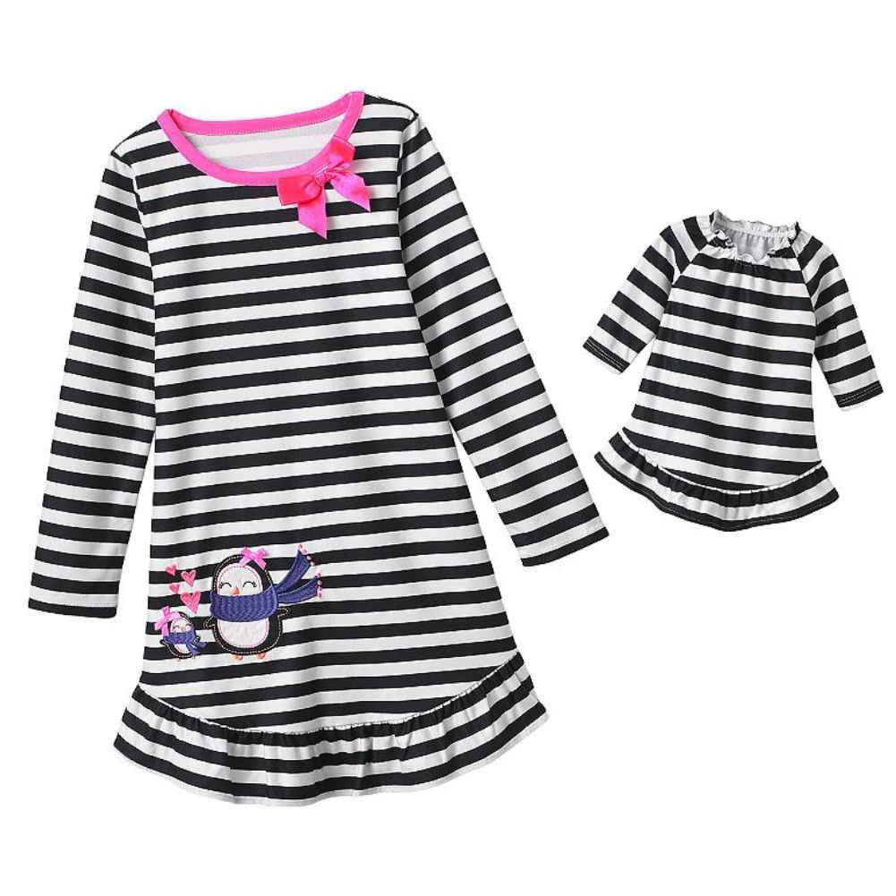 Jumping Beans Girls Black White Stripe Penguin Nightgown Doll Night Gown Set