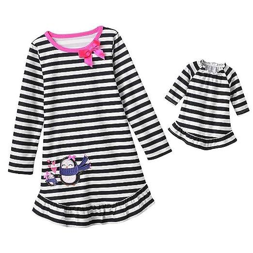 Jumping Beans Girls Black White Stripe Penguin Nightgown Doll Night Gown  Set 6 075d1892d