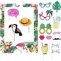 Hawaiian Photo Booth Prop Frame 16 Pcs Set Flamingo Pineapple Photo Frame Photo Party Supplies Summer Theme Party Tiki…