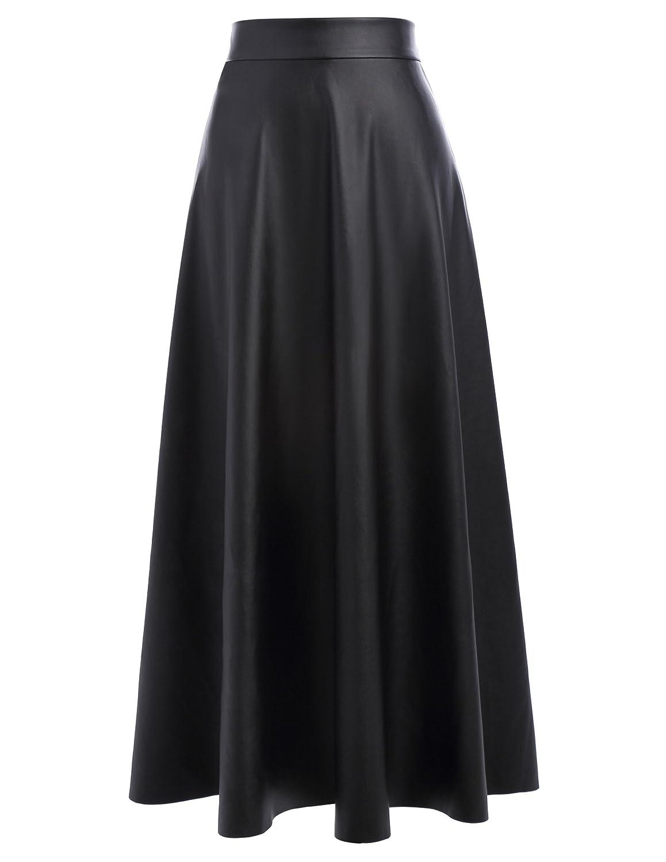 0cd45aa45ad Top3  Kate Kasin Women s PU Faux Leather High Waist A-Line Long Swing  Skater Skirt