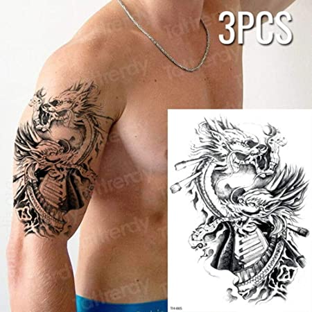 Handaxian 3pcs Tatuaje Femenino a Prueba de Agua Cuerpo Negro ...