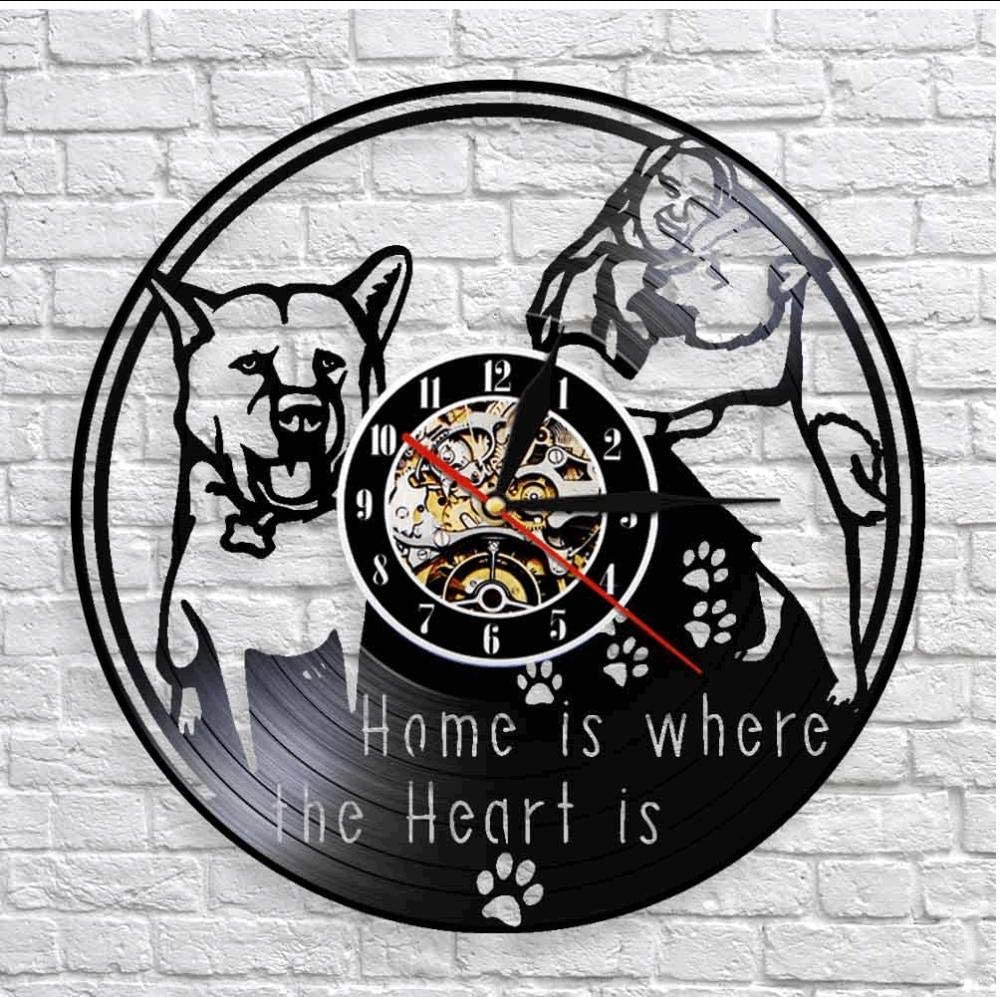 Huanxidp Home is Where The Heart is Inspirational Quote Wall Decor Wall Clock Housewarming Vintage Vinyl Record Wall Clock