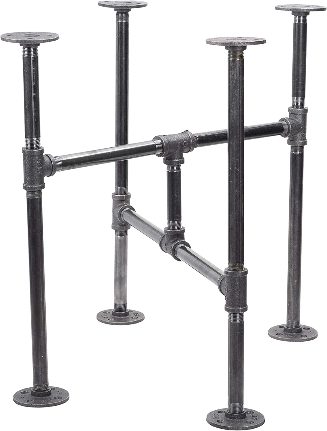 Amazon Com Industrial Pipe Decor Table Leg Set Rustic End Table Side Table Base Kit Dark Grey Black Steel Metal Pipes Vintage Furniture Decorations Diy Coffee Table Legs Mid Century Modern Turnpike Style Kitchen