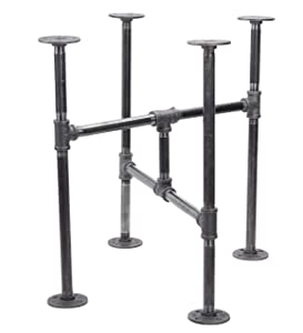 Industrial Pipe Decor Table Leg Set, Rustic End Table Side Table Base Kit, Dark Grey/Black Steel Metal Pipes Vintage Furniture Decorations DIY Coffee Table Legs Mid Century Modern, Turnpike Style