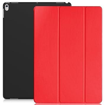KHOMO Funda iPad Pro 12.9 (Segunda Generación 2017) Carcasa Roja y Negra Ultra Delgada y Ligera con Smart Cover Rojo Apple iPad Pro (12,9