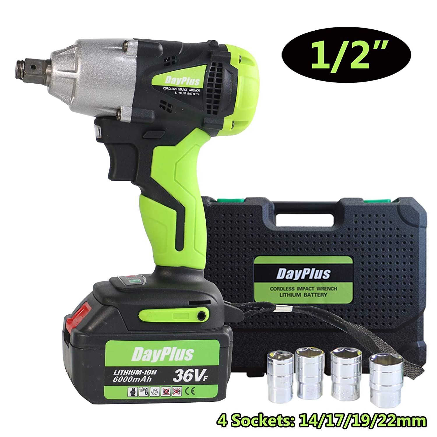 Cordless Impact Wrench 1//2 inch Drive 18V High Torque 460Nm with Socket Set 14mm 17mm 19mm 22mm with Two Batteries 6000mAh Li-Ion 3200rpm Variable Speed with Carry Box