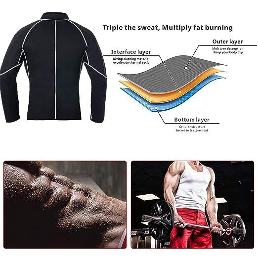 24ff6e2a87 Amazon.com  Men Sweat Sauna Suit Weight Loss Neoprene Workout Shirt Body  Shaper Gym Compression Top Shapewear Fitness Long Sleeve  Clothing