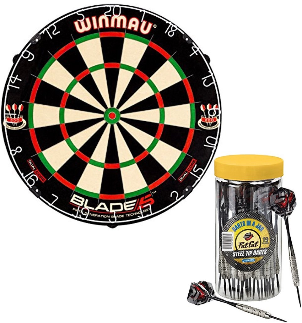 Bundle Includes 2 Items - Winmau Blade 5 Dual Core Bristle Dartboard and Fat Cat Darts in a Jar: Steel Tip Darts with Storage/Travel Container, 19 Grams (Pack of 21)