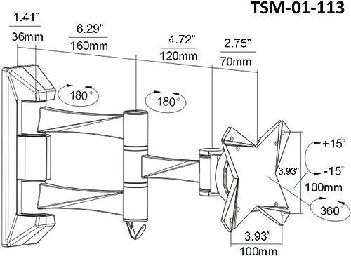 OSD Audio TSM-01-113 Full Motion Tilt and Swivel Wall Mount for 13-inch to 23-inch LCD TV