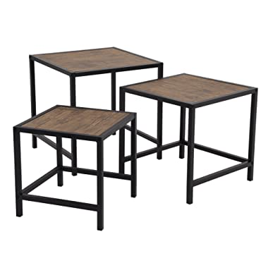 SONGMICS Nesting Coffee Table Set of 3, Industrial End Side Table, Nightstand Modern Decor for Living Roomr, Small Space, Rustic ULNT03BX