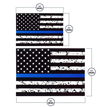 Thin blue line american flag sticker for car truck boat in pack of 2 patriotic