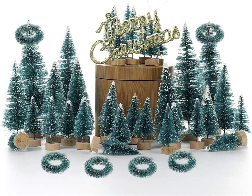 55 PCS Artificial Sisal Christmas Tree Mini Pine Tree with Wood Base and Wreath DIY Crafts Home Table Top Decor Christmas Ornaments Green Holiday Christmas Decorations