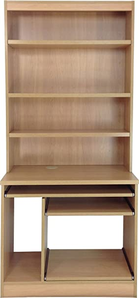 Home Office Furniture UK Computer Workstation Desk HUTCH Bookcase, Wood,  Classic Oak, Wood