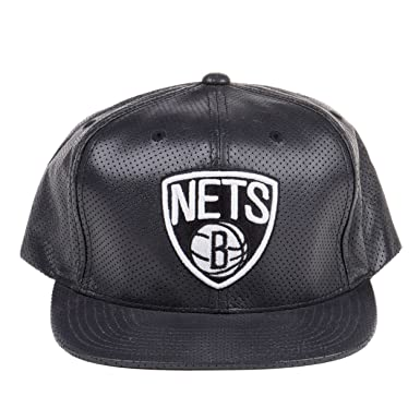 bcf8d29a4e52c Image Unavailable. Image not available for. Color  Mitchell   Ness Nets  Perforated Leather 5-Panel Snapback Hat Black