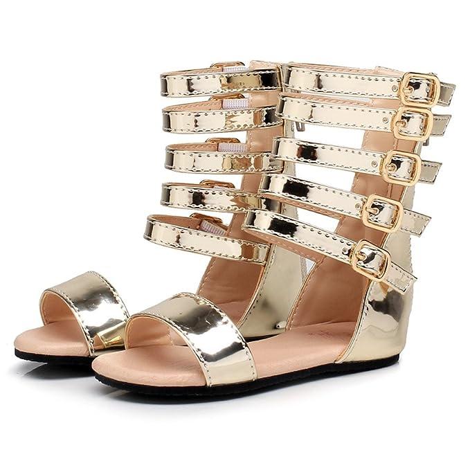 Zapatos de verano para niñas Zapatos de niños romanos Zapatos de tacón alto  para niños Zapatos de niña con punta abierta Sandalias de niña  Amazon.es   Ropa ... e69a23471159e