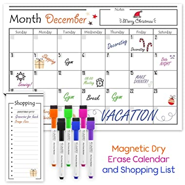 USA Made Magnetic Dry Erase Calendar for Refrigerator with 6 Markers & Magnetic Shopping List – Kitchen Fridge Calendar White Board, Schedule Planner Wall Set