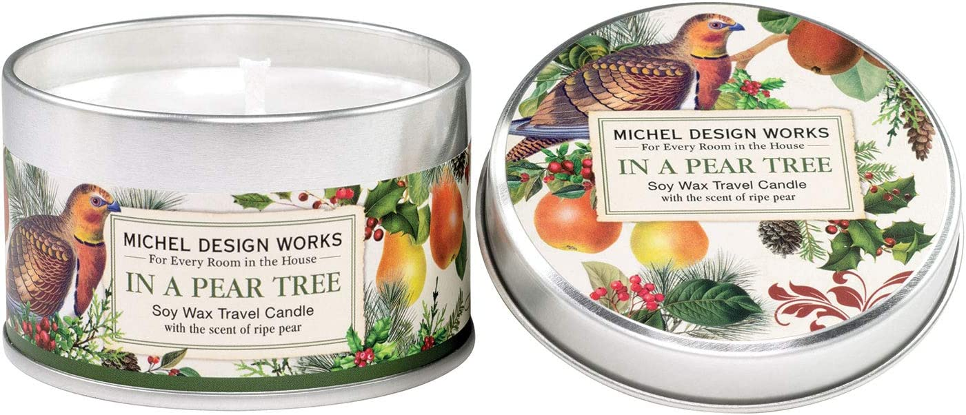 Michel Design Works Soy Wax Candle in Travel Tin Size, in a Pear Tree