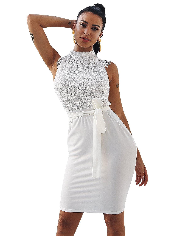 Glamaker Womens Elegant Bodycon Lace Midi Dress Sleeveless Crew Neck Cocktail Party Wear: Amazon.co.uk: Clothing