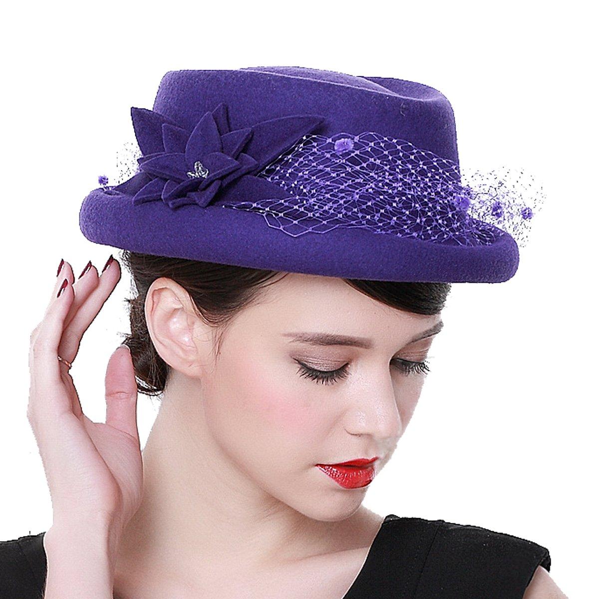 1232c6e3be460 Luxury Women 100% Wool Fascinators Church Winter Wedding Party Hat (Purple)  Apparel