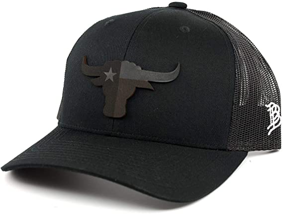 Branded Bills Texas The Longhorn Leather Patch Hat Curved Trucker