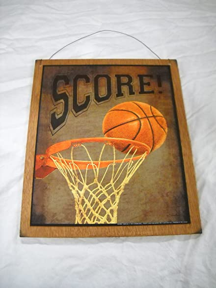 Score Basketball Hoop And Ball Boys Bedroom Sports Decor Wooden Wall Art  Sign