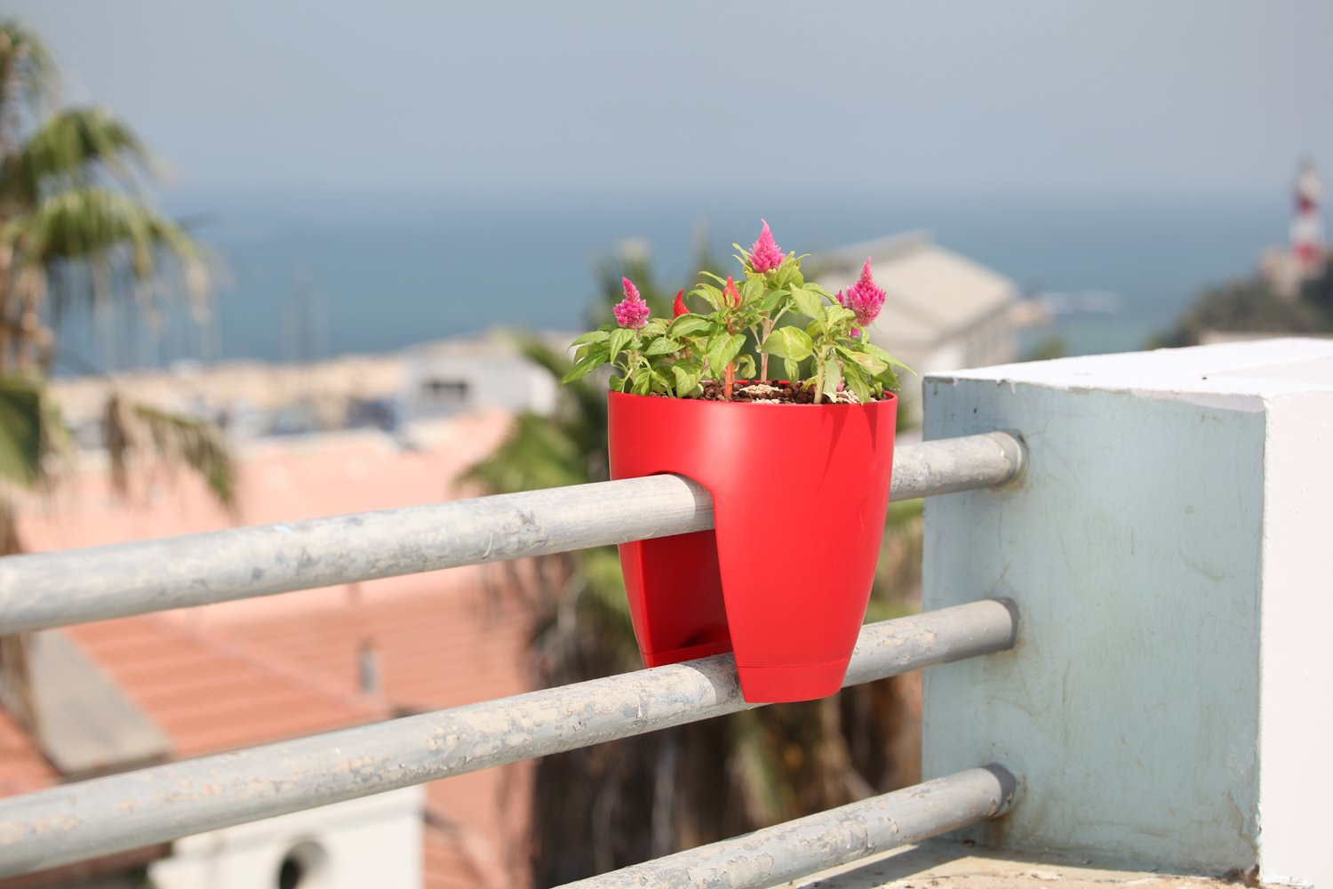 Greenbo Deck Rail Planter Box with Drainage trays, round 12-Inch, Color Red- Set of 2 by Greenbo (Image #3)