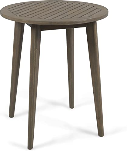 Christopher Knight Home 304995 Fitch Outdoor Round Acacia Wood Bistro Table, Gray Finish