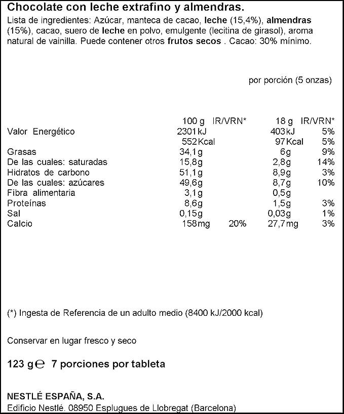 Nestlé Extrafino - Tableta de Chocolate con Leche y Almendras - 7 Paquetes de 123 g: Amazon.es: Alimentación y bebidas