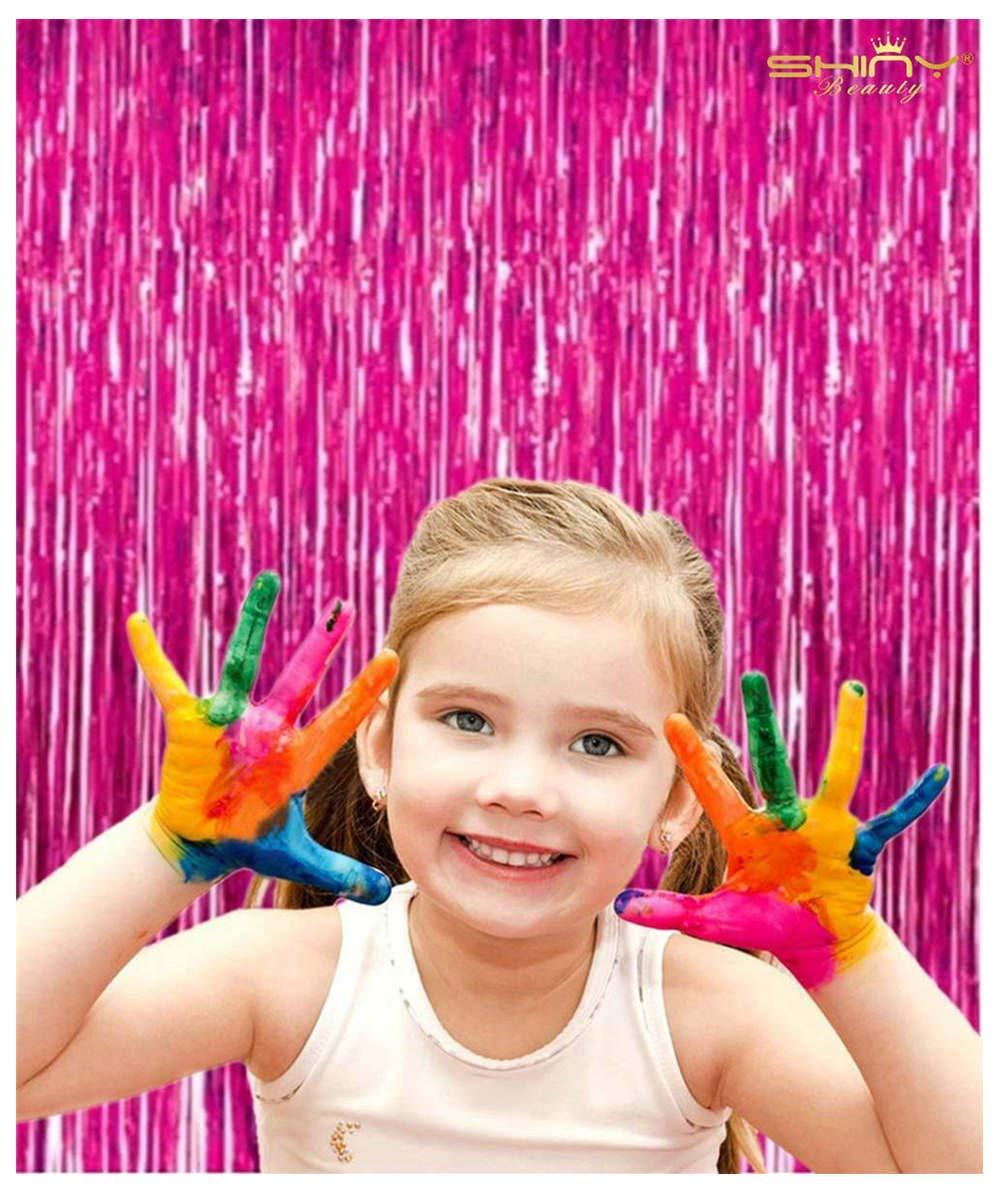 ShinyBeauty 6FTX8FT-Foil Fringe-Curtain-Fuchsia,Metalic Foil Fringe Backdrop,Better for Your Thanksgiving Party Decoration