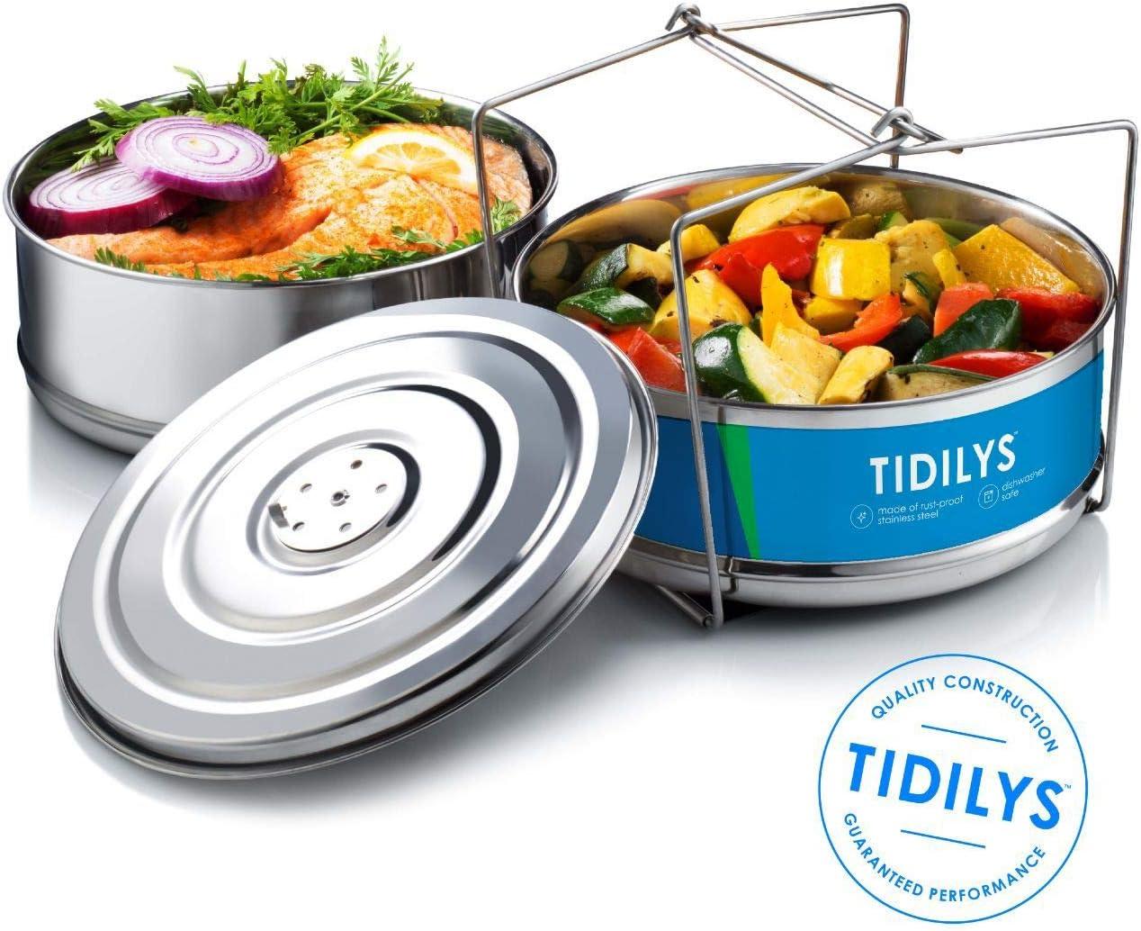 tidilys alta presión cocina vapor cesta con tapa apilable Instant Pot de acero inoxidable inserto Vapor verduras carne pescado arroz para 5, 6, 8 Quart Ollas Dual sistema de dos pisos de